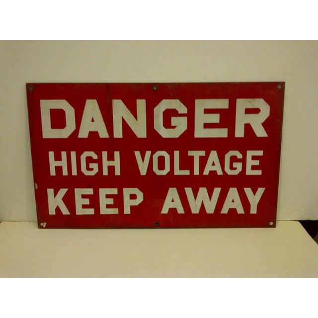 """Vintage Porcelain Sign """"Danger High Voltage Keep Away"""" - Image 2 of 6"""