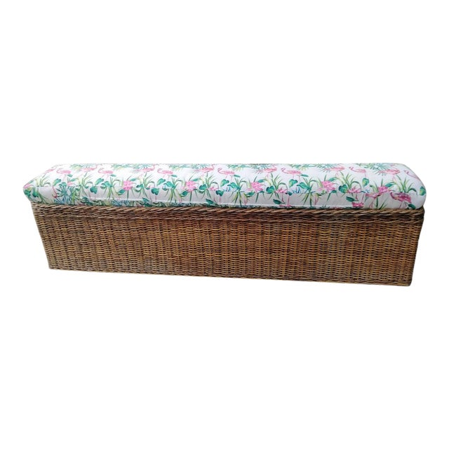 Vintage Wicker Heavy Duty Newly Custom Upholstered Hall End of Bed Bench Seat For Sale