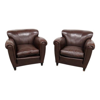 Pair of Italian Leather Club Chairs For Sale