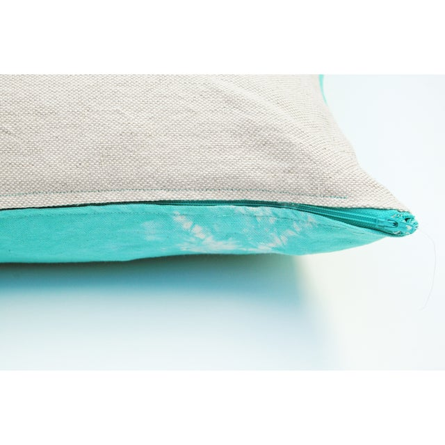 Hand Dyed Nui Shibori Pillow Cover in Aqua - Image 4 of 6