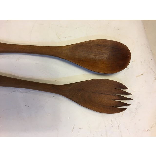 Boho Chic Teak Wood Hippo Salad Fork & Spoon Servers - a Pair For Sale - Image 3 of 6