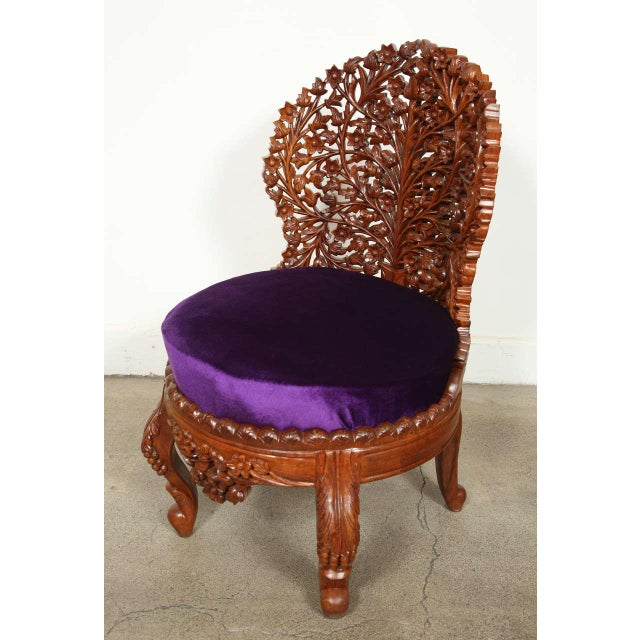 Purple Anglo-Raj Settee and Side Chairs Suite For Sale - Image 8 of 10