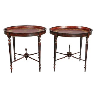 Pair of Regency Red Tole Tray Tables For Sale