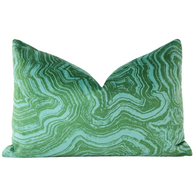 "Contemporary 12"" X 18"" Malachite Velvet Lumbar Pillows - a Pair For Sale - Image 3 of 6"