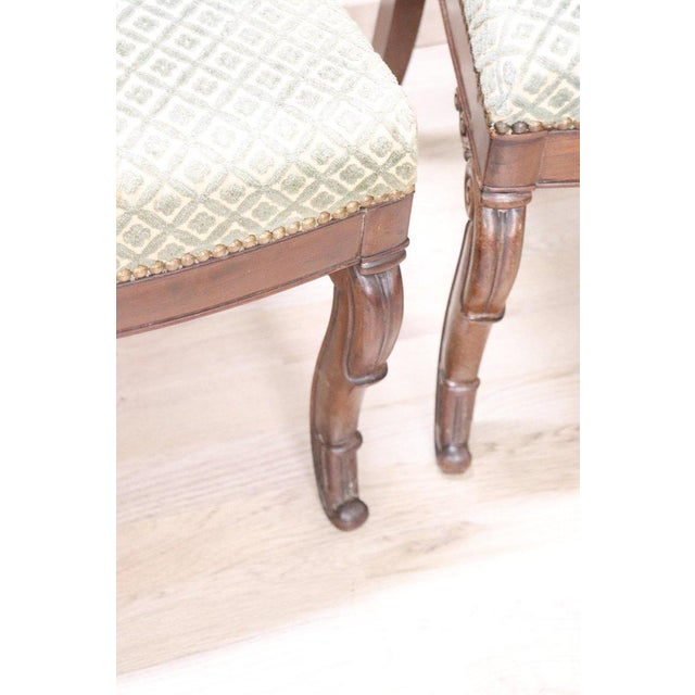 19th Century Italian Carved Mahogany Charles X Six Chairs For Sale - Image 4 of 13