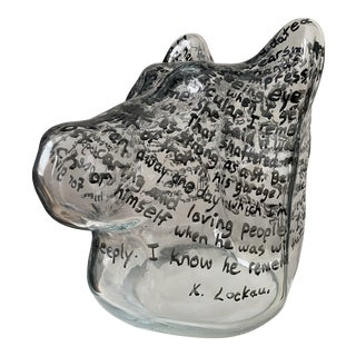 "Kevin Lockau ""Glass Dog's Head"" Cast Glass Sculpture For Sale"