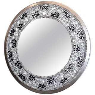 Contemporary Italian Lit Black and Clear Rock Crystal Nickel Mirror For Sale