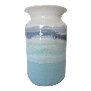 Robinson Studio Ceramic Blue Wave Vase For Sale