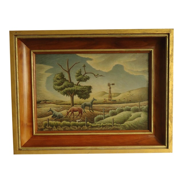 1952 Aaron Pyle Landscape With Horses Regionalist Painting For Sale