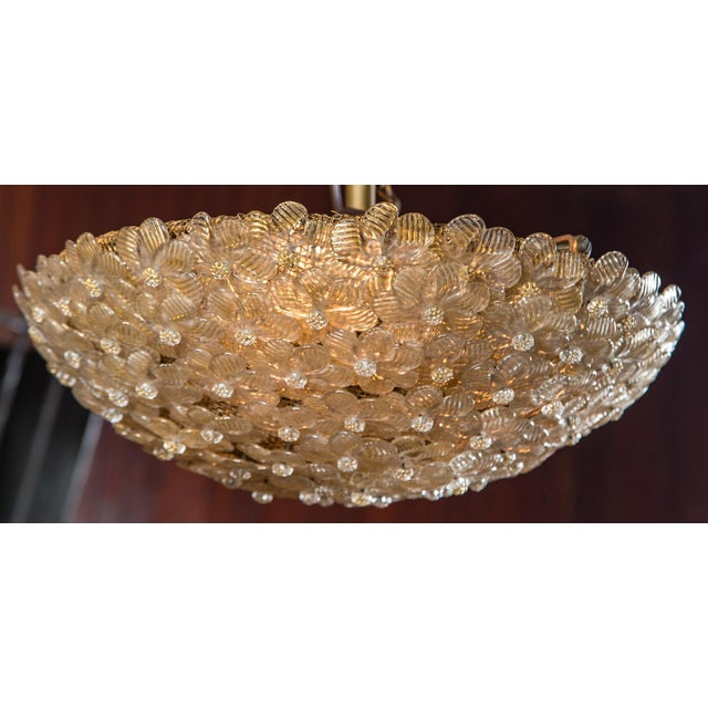 1970s Italian Barovier & Toso Murano Glass Surface Mount Ceiling Chandelier/Light For Sale - Image 5 of 11