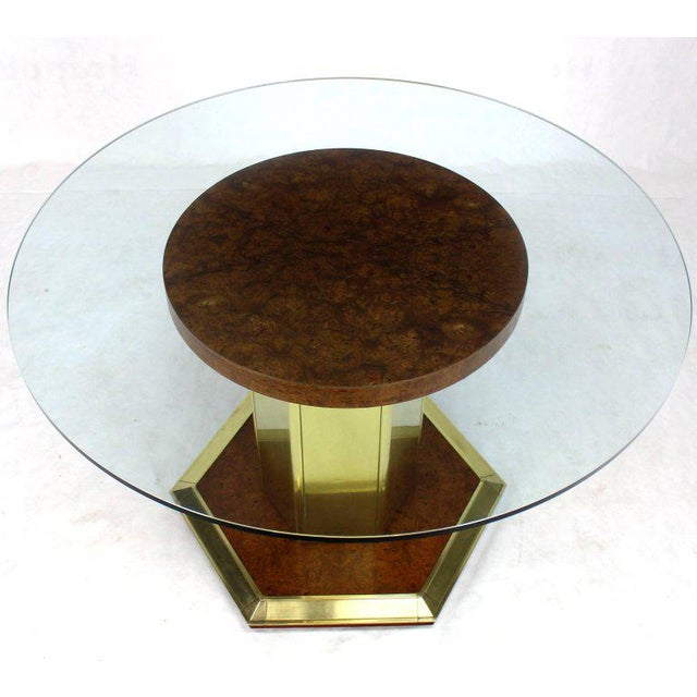 Gold Round Brass Burl Wood Glass Top Center Dining Conference Table Henredon For Sale - Image 8 of 8