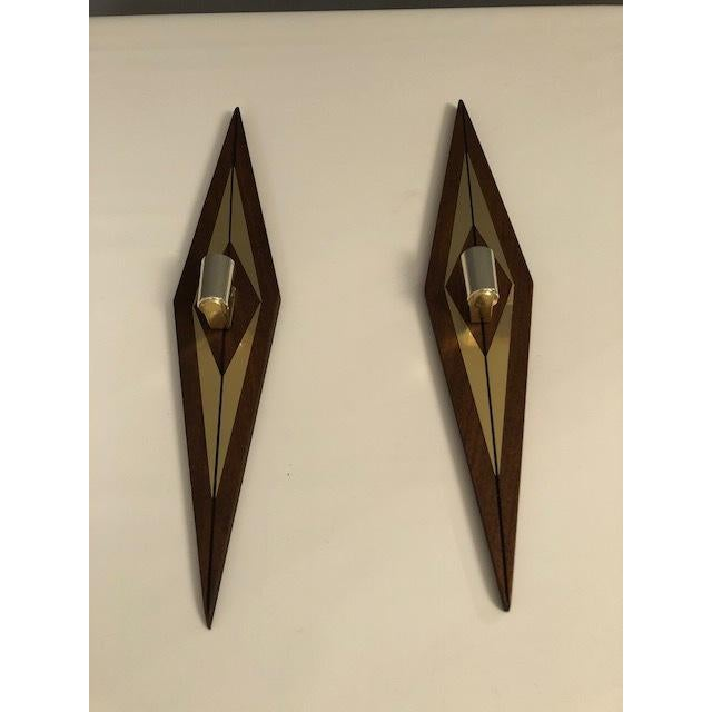 Hollywood Regency 1970s Mid-Century Modern Candle Wall Sconces - a Pair For Sale - Image 3 of 7