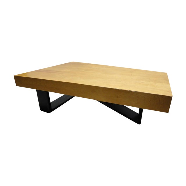 Rare Barzilay Trapezoid Cocktail Table in Birch For Sale