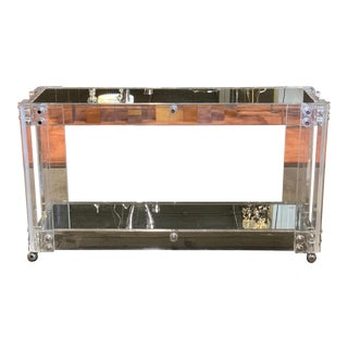 Vintage Lucite & Mirror Console on Coasters For Sale