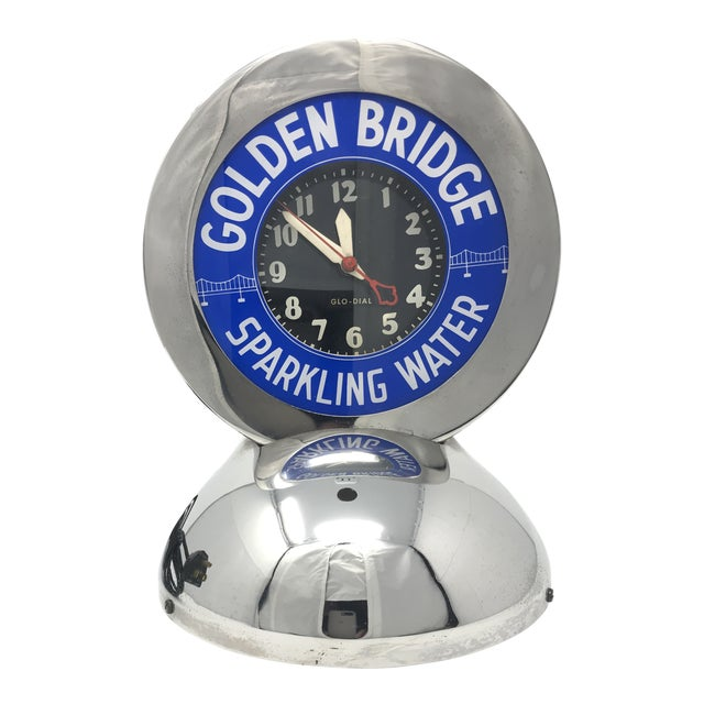 "Art Deco Neon Glo-Dial ""Golden Bridge Sparkling Water"" Advertising Clock For Sale"