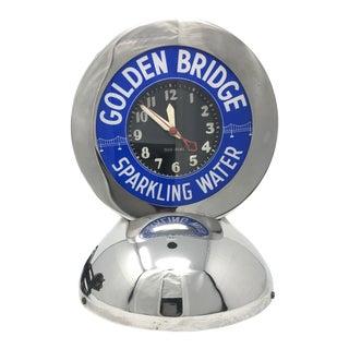 "Glo-Dial Art Deco ""Golden Bridge Sparkling Water"" Advertising Clock For Sale"