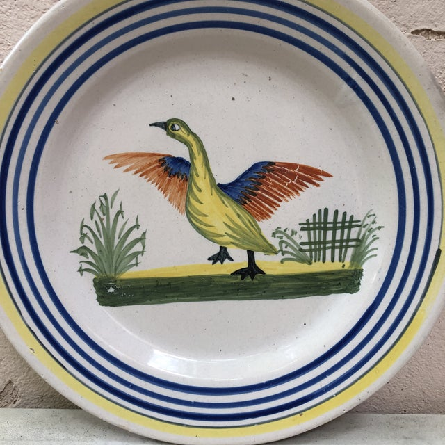 French Country French Faience Bird Plate Henriot Quimper, Circa 1930 For Sale - Image 3 of 5