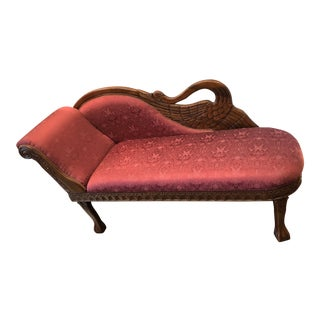 1940s Antique Raspberry Chaise For Sale