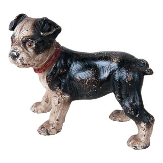 Late 19th Century Cast Iron French Bulldog With Glass Eyes, Unique Dog Doorstopper, Original Paint, Decorative, Room Accessory, Table Top Ornament For Sale