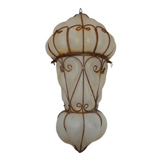1960s Vintage Egyptian Blown Glass Lantern For Sale