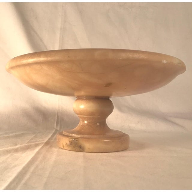 Italian Vintage 1930s Italian Alabaster Footed Bowl Pedestal Dish Centerpiece For Sale - Image 3 of 8