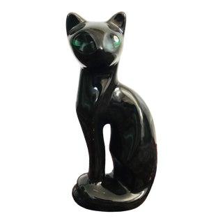 Mid Century Black Ceramic Cat Sculpture For Sale