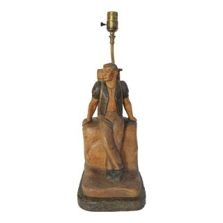 Circa 1940s Carved Wood Male Hiker Lamp For Sale