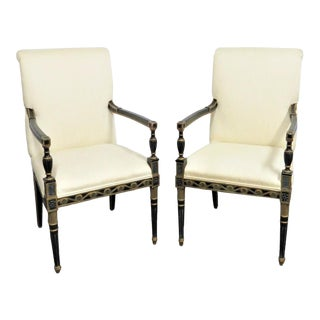 20th Century Regency Carved Black & Gold Chairs - a Pair For Sale