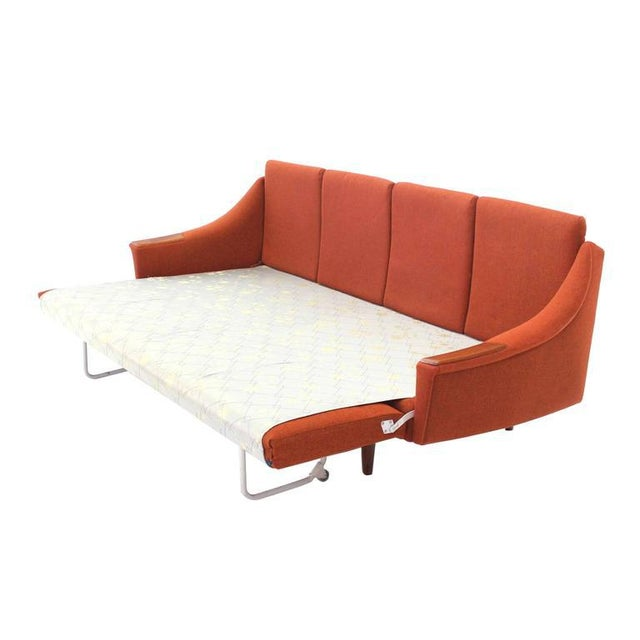 Early 20th Century Mid Century Modern Danish Modern Convertible Brick Wool Upholstery Daybed Sofa For Sale - Image 5 of 10