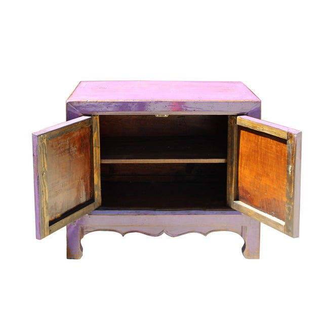 2010s Oriental Simple Purple Lacquer Credenza Sideboard Buffet Table Cabinet For Sale - Image 5 of 6