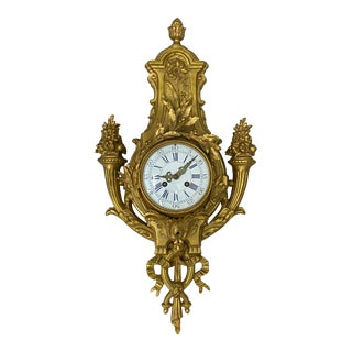 19th Century French Cast Bronze & Gilded Wall Clock C.1880 For Sale