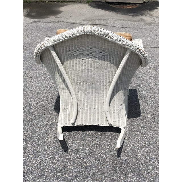 Vintage Heywood Wakefield Wicker Rocker With Hermes Leather Pillow For Sale - Image 9 of 13