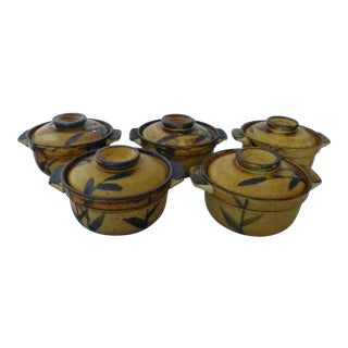 Chinoiserie Inspired Studio Pottery Covered Soup Bowls ~ Set of Five For Sale