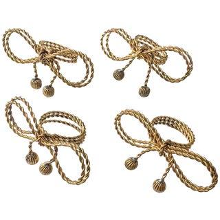 Italian Gold Rope Bow Napkin Rings - Set of 4