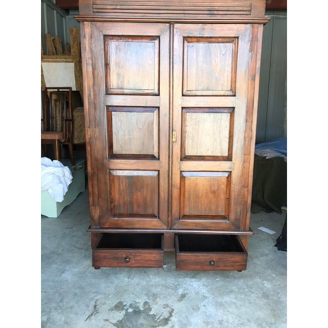 Brown Large Teak Armoire For Sale - Image 8 of 13