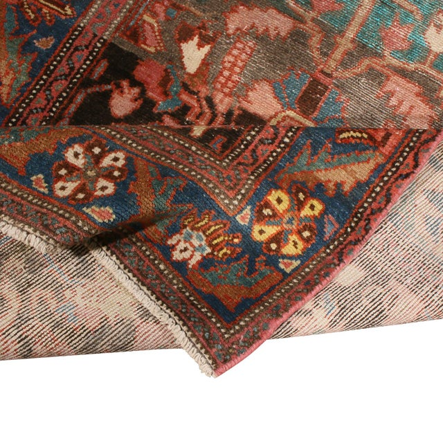 """Vintage Bidjar Brown and Pink Wool Runner Rug With Blue Accents - 2'7"""" x 7'8'"""" For Sale In New York - Image 6 of 7"""