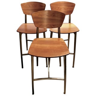 Mid-Century Modern Style Plywood and Steel Bar Stools - Set of 3 For Sale