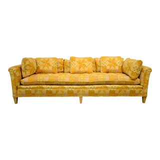 1970s Vintage Henredon Orange Tapestry Sofa