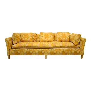 1970s Vintage Henredon Orange Tapestry Sofa For Sale