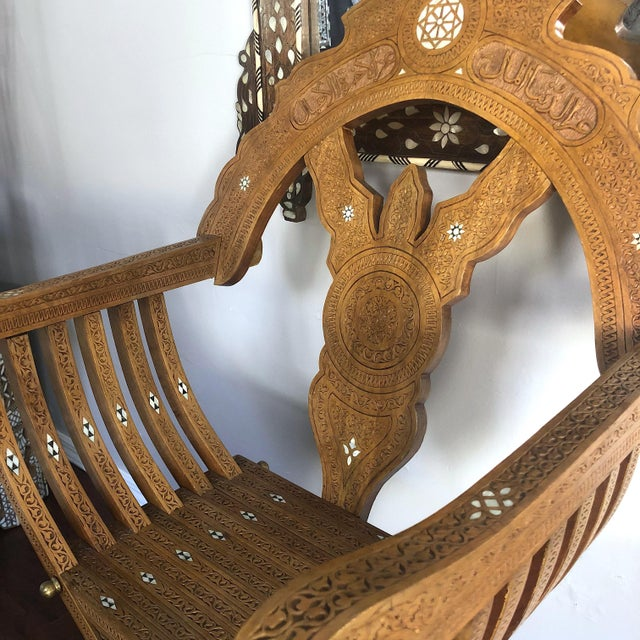 20th Century Moroccan Hand Carved Mother of Pearl Inlay Folding Chair For Sale In Los Angeles - Image 6 of 10