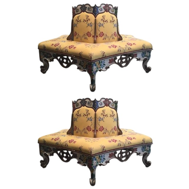 Exceedingly Rare Pair of Upholstered and Handpainted Sicilian Late 18th Century For Sale