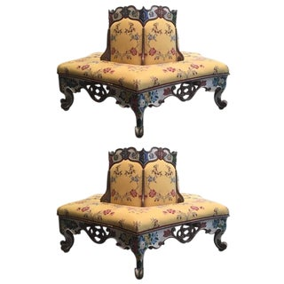 Exceedingly Rare Pair of Upholstered and Handpainted Sicilian Late 18th Century Settees For Sale