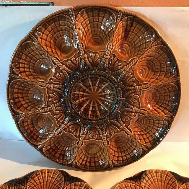 French Set 11 French Majolica Oyster Plates by Sarreguemines,10 + Master Server For Sale - Image 3 of 6