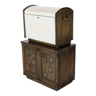 Cerused Carved Scallop Oak Leather Wrapped Campaign Portable Secretary Desk For Sale