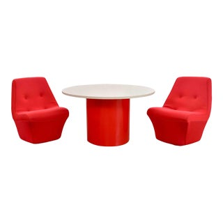 Mod Style Mid-Century Modern Round Table & 2 Chairs by Founders Furniture in Red & White For Sale