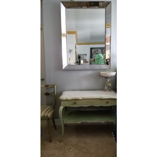 White Mablre Top 1930s Italian Painted Console or Dressing Table For Sale - Image 11 of 13