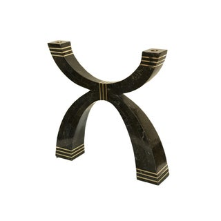 Casa Bique Tessellated Stone and Brass Candelabra/Candlestick For Sale