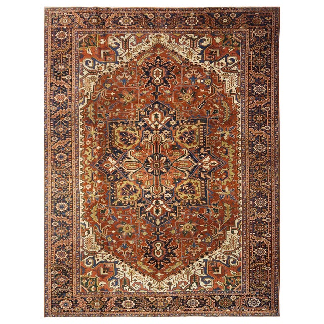 "Traditional Heriz Wool Rug - 9'6"" x 12'3"" For Sale"