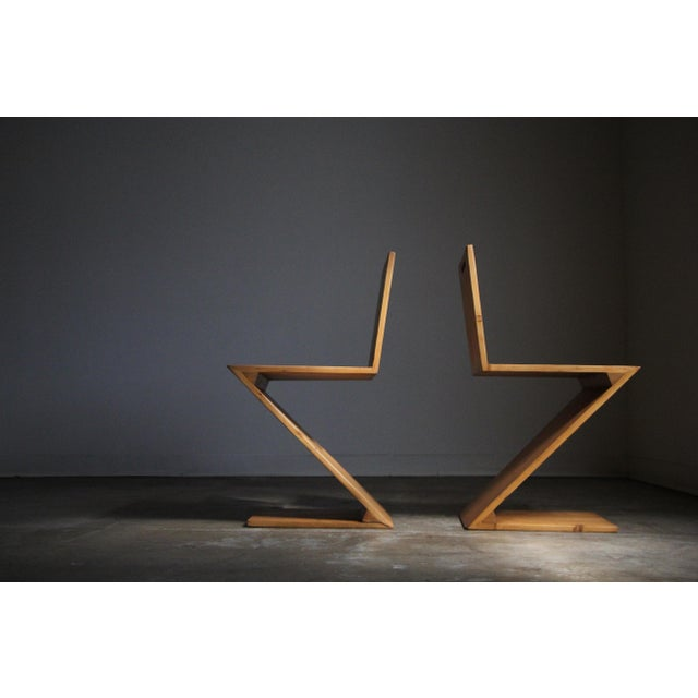 Gerrit Rietveld Vintage Gerrit Rietveld Style Zig Zag Chairs - a Pair For Sale - Image 4 of 13