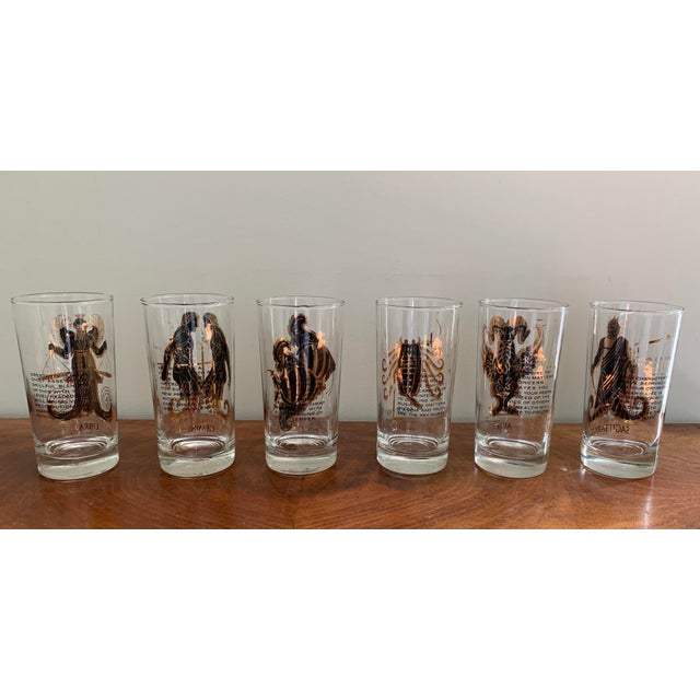 Vintage Zodiac Tall Glasses - Set of 6 For Sale - Image 4 of 10